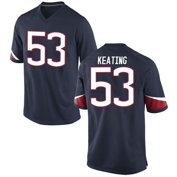 Men's Brian Keating UConn Huskies Nike Game Navy Football College Jersey