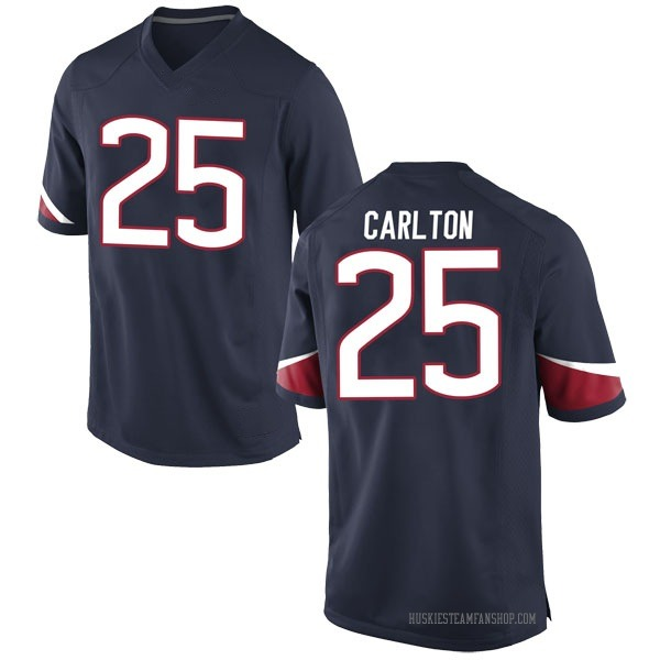 Men's Josh Carlton UConn Huskies Nike Game Navy Football College Jersey