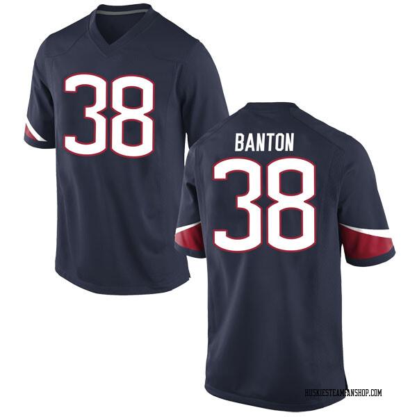 Men's Lavarey Banton UConn Huskies Nike Game Navy Football College Jersey