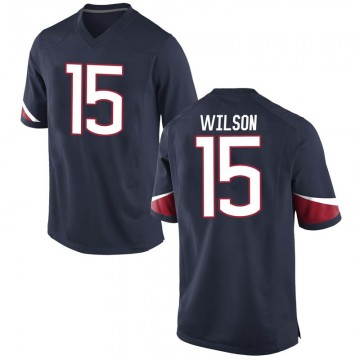 Men's Sidney Wilson UConn Huskies Nike Game Navy Football College Jersey