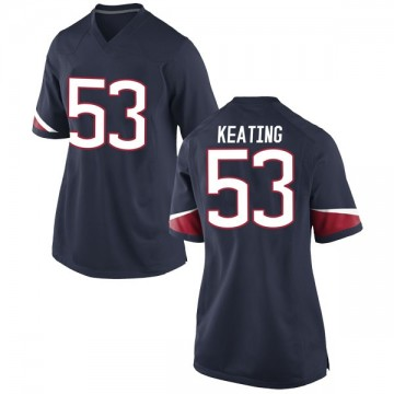 Women's Brian Keating UConn Huskies Nike Game Navy Football College Jersey