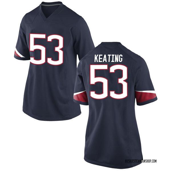 Women's Brian Keating UConn Huskies Nike Game Navy Football College Jersey